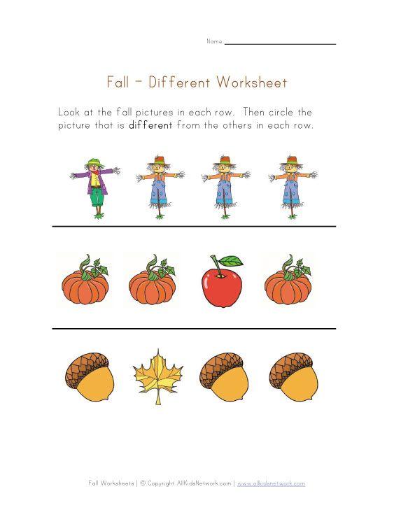 fall different worksheet Crafts Books September – Preschool Fall Worksheets