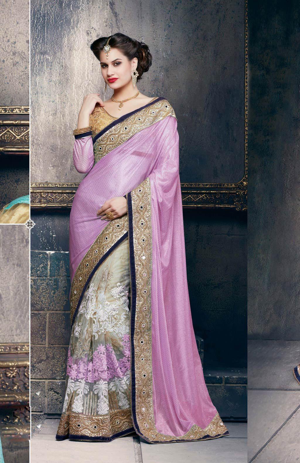 Sari wedding dress  Light Purple Soft Net Half and Half Wedding Saree   Favourite