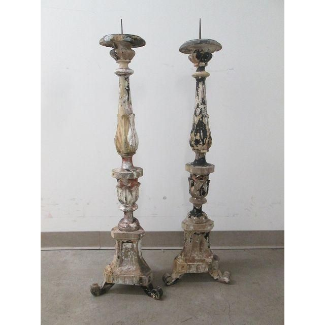Pair Of Simple Church Lights For Sale: Image Of Antique Church Floor Candle Holders