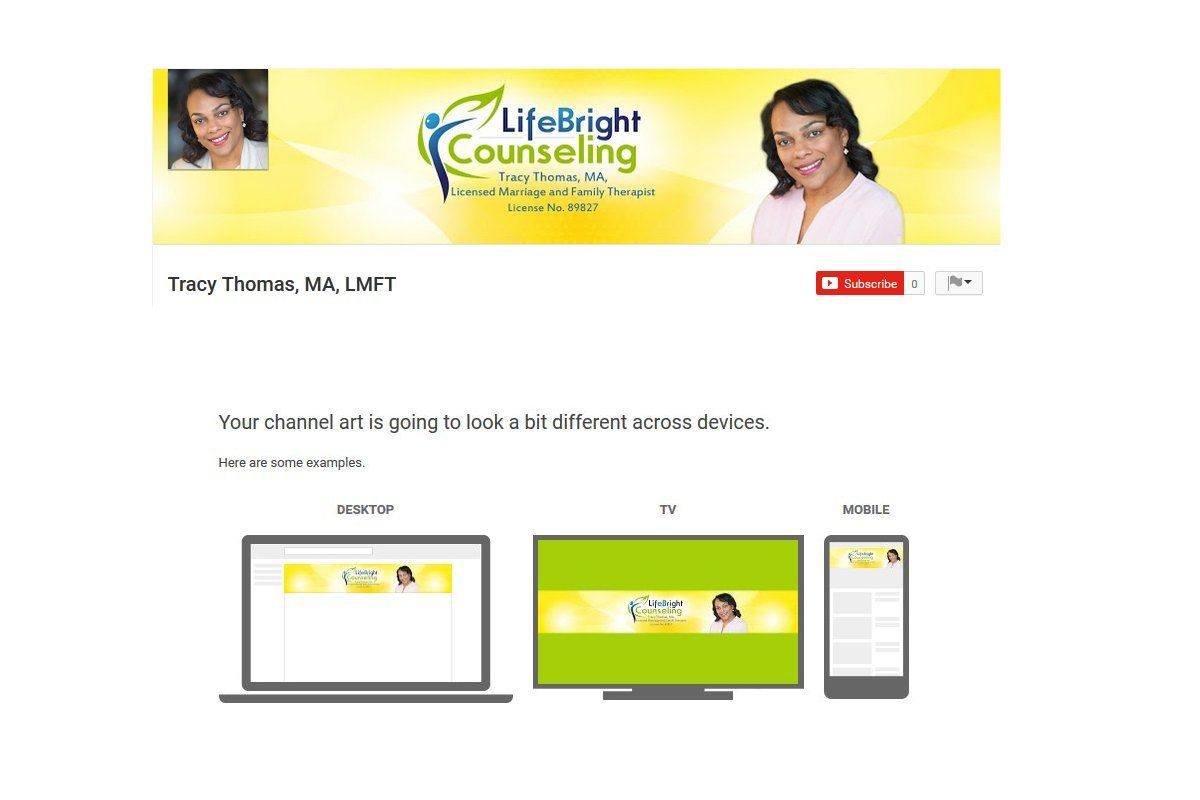 Tracy Thomas, MA, LMFT YouTube Channel Art by Custom Page Designs ...