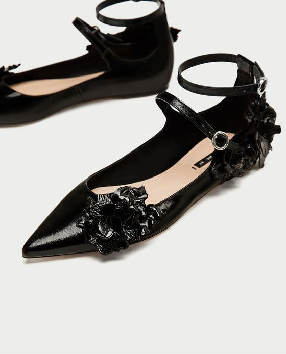 9df0b062347 Image 5 of LEATHER BALLERINAS WITH STRAP AND FLOWER DETAIL from Zara ...