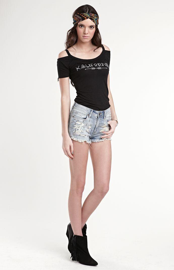 Kendall & Kylie Steel Blue Stud Shorts #KandK4PacSun #PacSun