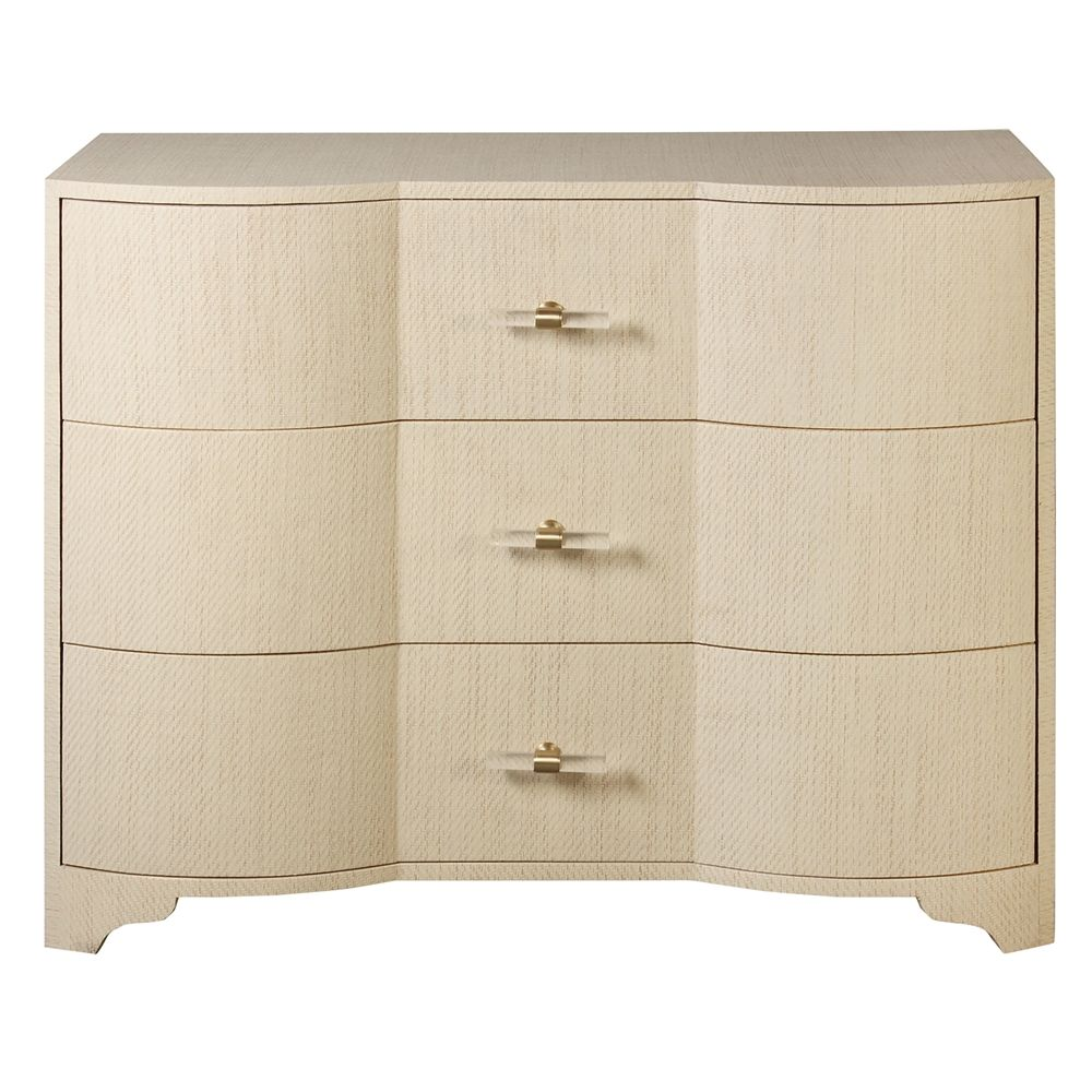 Worlds Away Plymouth Three Drawer Chest In Natural Grasscloth And Acrylic Hardware Plymouth Nat Dresser Drawers 3 Drawer Dresser Drawers