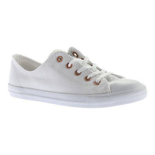 551887119694 Women s Converse Chuck Taylor All Star Dainty Ox - White White Gold Sneakers