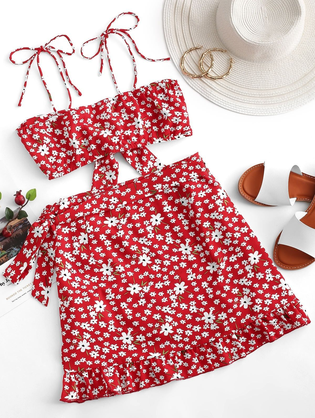 ZAFUL Two Piece Ditsy Floral Tie Front Wrap Skirt Set LAVA RED , , , , , | vintage outfits