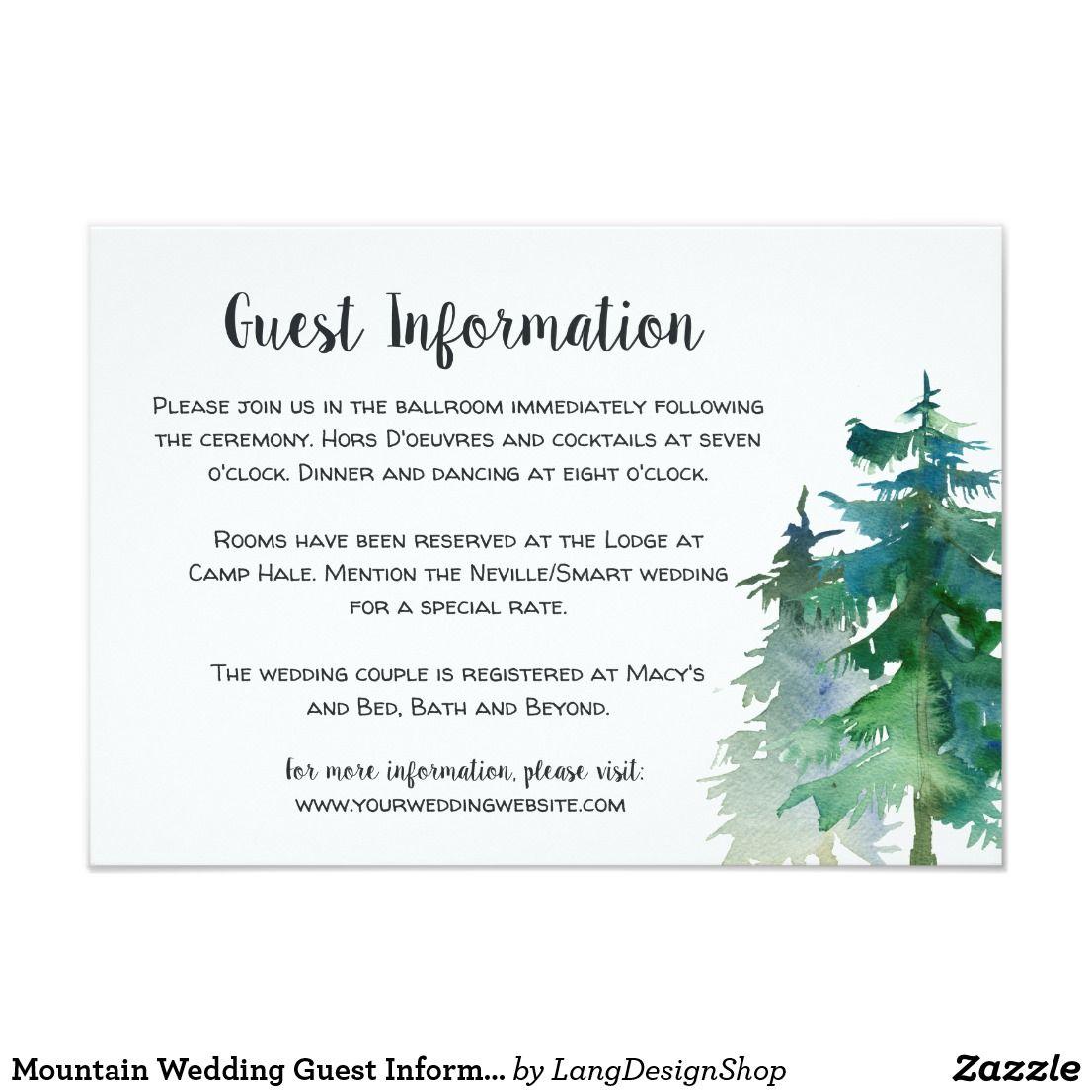 Wedding Venues Near Me Cheap: Mountain Wedding Guest Information Card