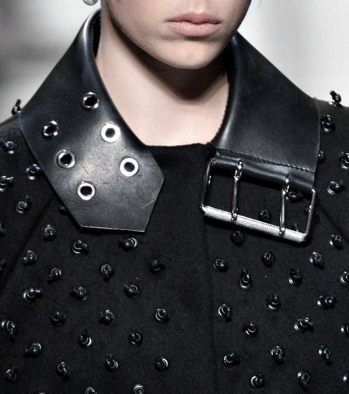 Repurposed leather belt collar detail; upcycled fashion design inspiration; close up fashion details // Balenciaga Fall 2015