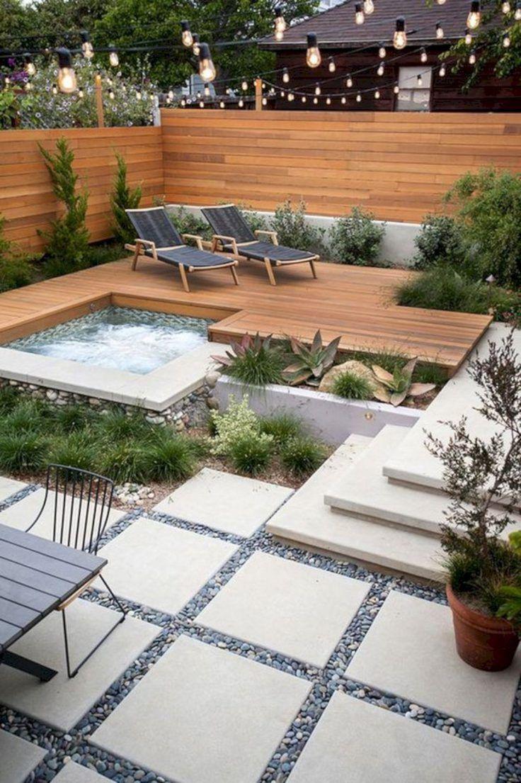Spa Jacuzzi 22 Idees Pour L Integrer Dans Son Jardin Backyard Garden Design Backyard Small Backyard Landscaping Modern backyard ideas with hot tub