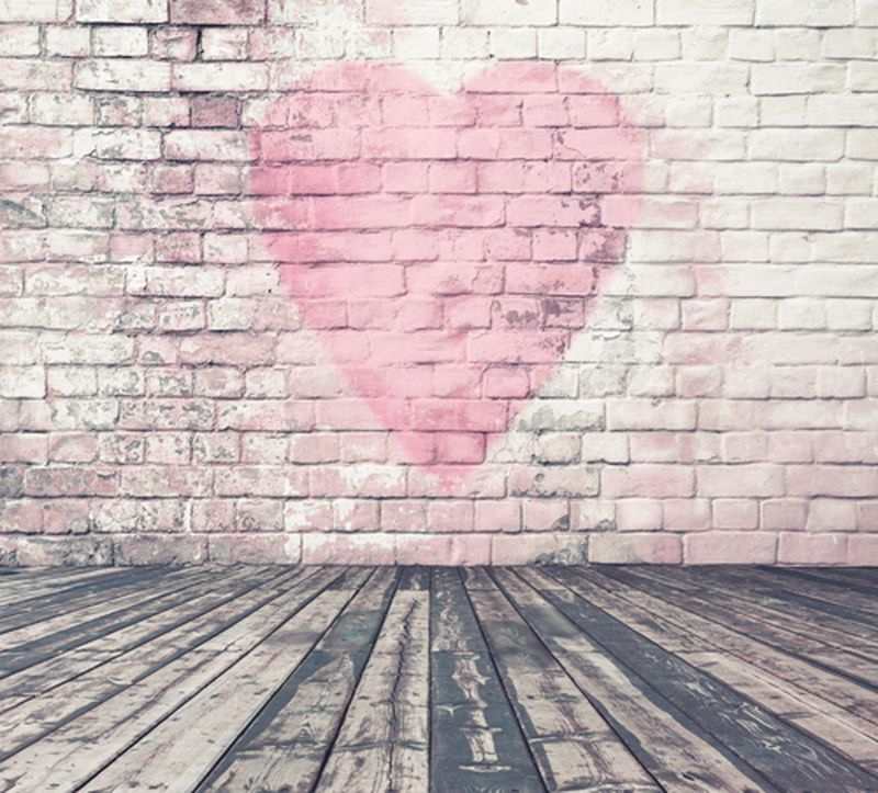 digital printing non woven photography backdrop valentines day brick wall wooden floor background for photo - Valentines Backdrops