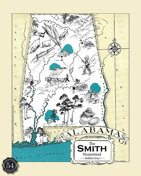 Alabama map personalized map of alabama wedding gift for Classic housewarming gifts