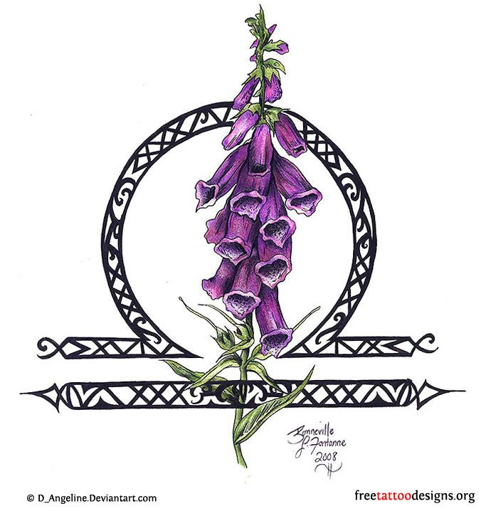 Libra sign and purple flowers tattoo design fav tattoos
