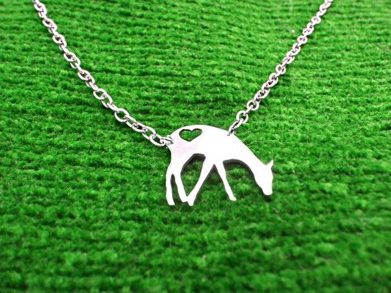 $10  #Jewelry #Necklace #Metalwork #deer #bambi #animal #peta #love #silver #nickel