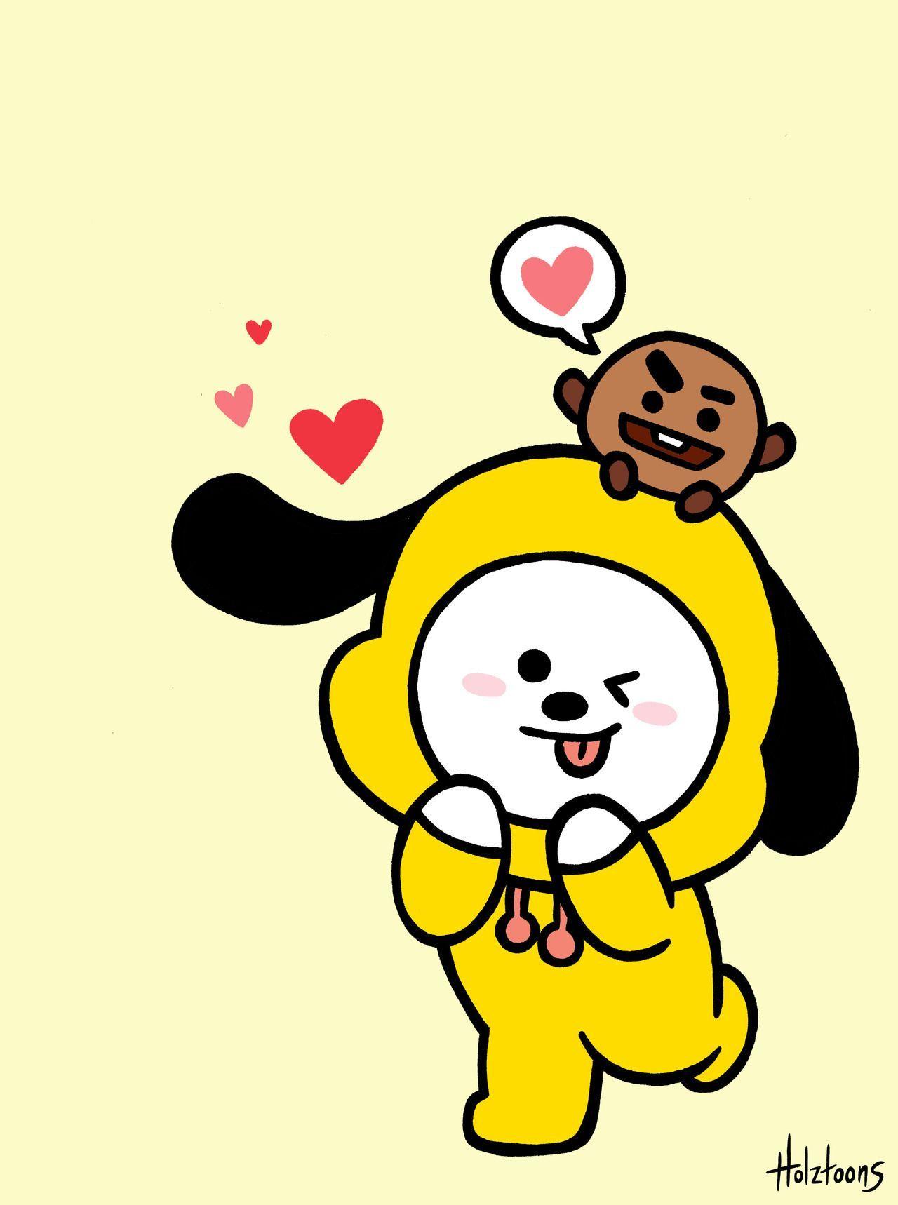 Bt21 Chimmy Wallpapers Bts Drawings Bts Wallpaper Dog Emoji Wallpaper bts dan bonekanya