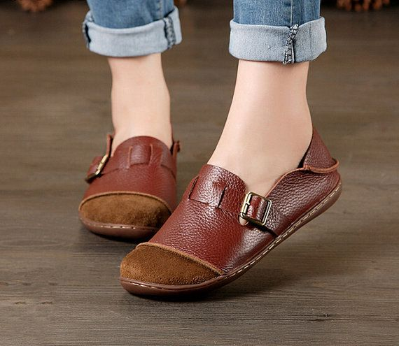 Large Size Handmade Women Shoes,Oxford Shoes, Flat Shoes, Retro Leather  Shoes,