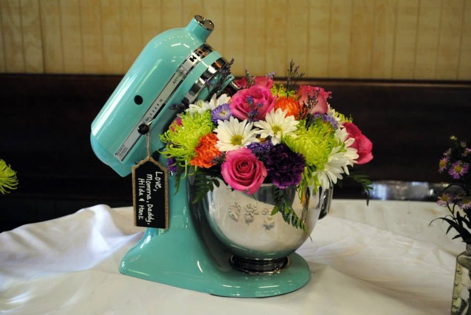 Wondrous Kitchenaid Mixer Flower Arrangement For Bridal Shower Interior Design Ideas Gresisoteloinfo
