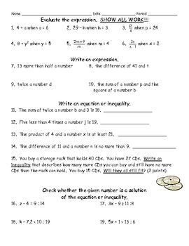Free Writing And Solving Equation Worksheet Assessment Math Textbook Evaluating Algebraic Expressions Writing Expressions