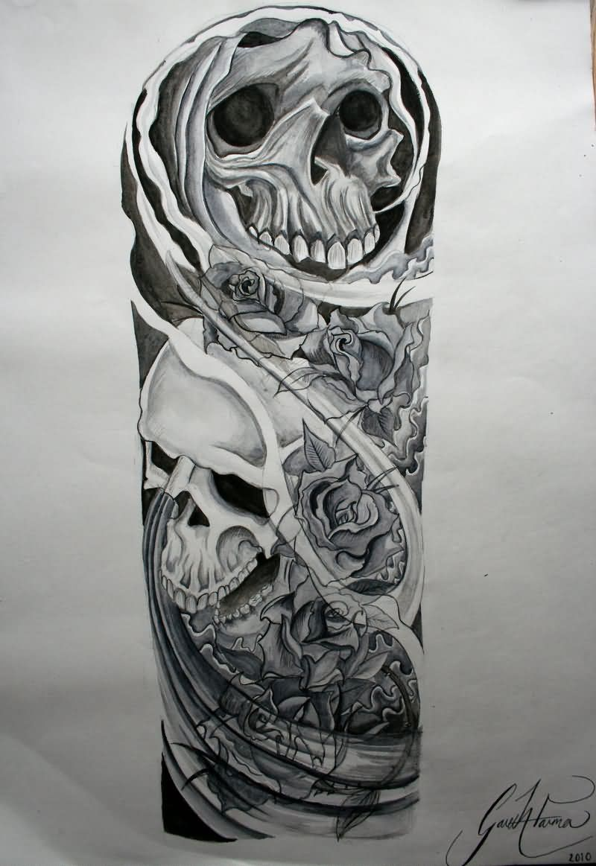 Biomechanical tattoos designs - Biomechanical Skulls Sleeve Tattoo Design