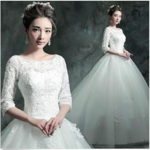 Womens Wedding Korean Bride Long Sleeve Romantic Lace Up Ball Gown