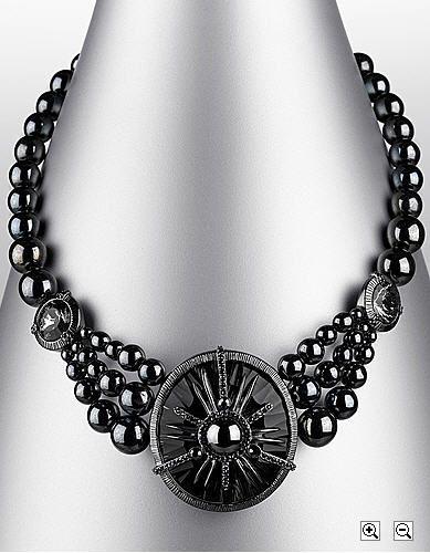 Black Diamond Necklace Black Bead Necklace Gothic Jewelry Black Diamond Necklace
