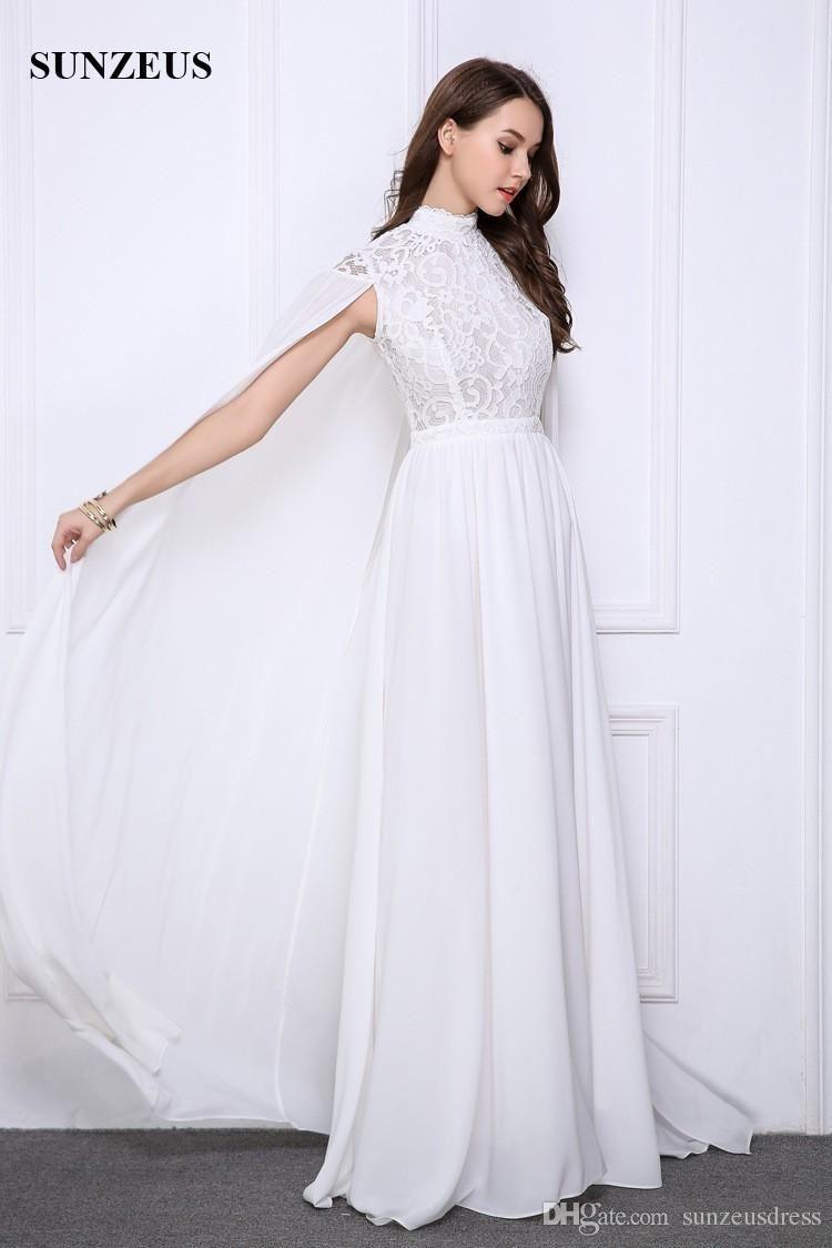 Großhandel Lange Weiße Abendkleider Lace High Neck Abendkleider