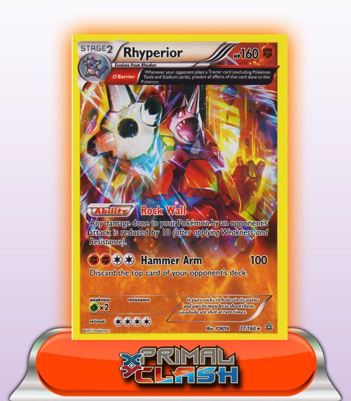 77//160 Pokemon Primal Clash Rhyperior Rare Card