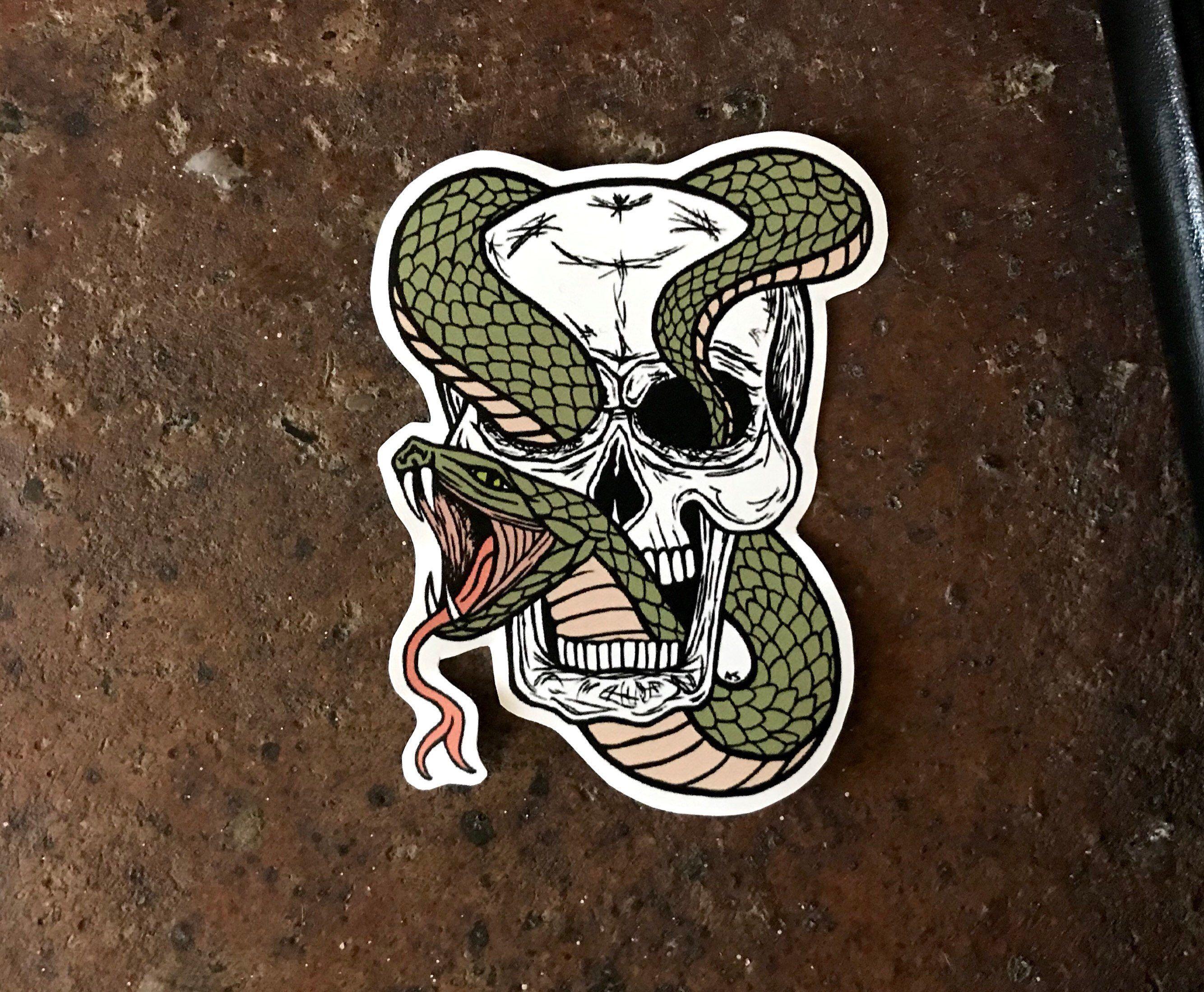 Vinyl Sticker Snake Skull Sticker Skull Sticker Tattoo Etsy Skull Sticker Vinyl Sticker Paper Tattoo Stickers [ jpg ]