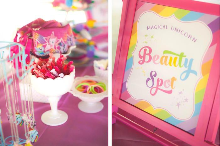 Beauty Spa station from Rainbow Unicorn Themed Birthday Party at Kara's Party Ideas. See more at karaspartyideas.com!