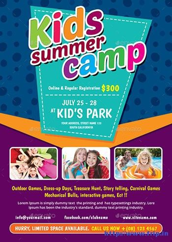 50+ Best Kids Summer Camp Flyer Print Templates 2017 Flyer - Summer Camp Flyer Template