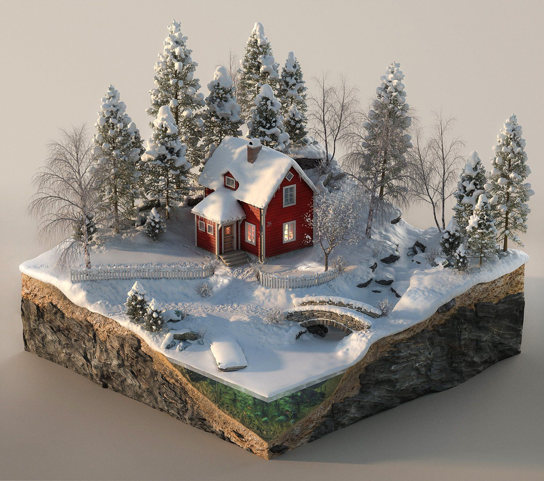 """""""Winter"""", Digital 3D, 1500x1300px. Art Winter"""