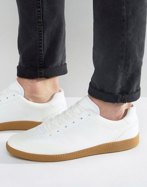 ASOS Lace Up Sneakers In White Faux Suede With Gum Sole