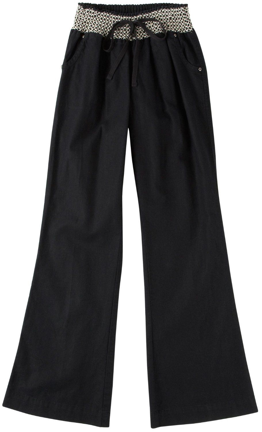 Tyte Women's Solid Smocked Waist Linen Pants -- They should be called LOW LOW RISE. - They are too long for me - but that is ok i can hem them which is much better than if they were too short. - These are way cool & very comfortable. http://www.amazon.com/exec/obidos/ASIN/B00B6A8XQG/electronicfro-20/ASIN/B00B6A8XQG