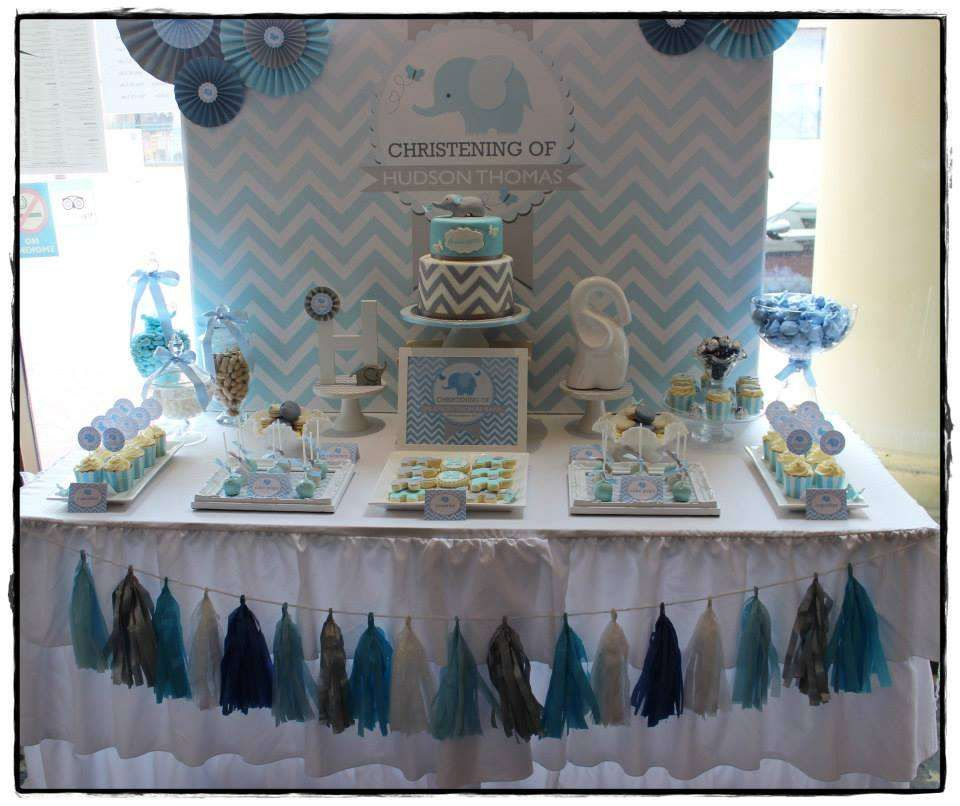 Chevron and blue elephant baptism party ideas baby shower chevron baptism party and baptisms - Baby shower chevron decorations ...