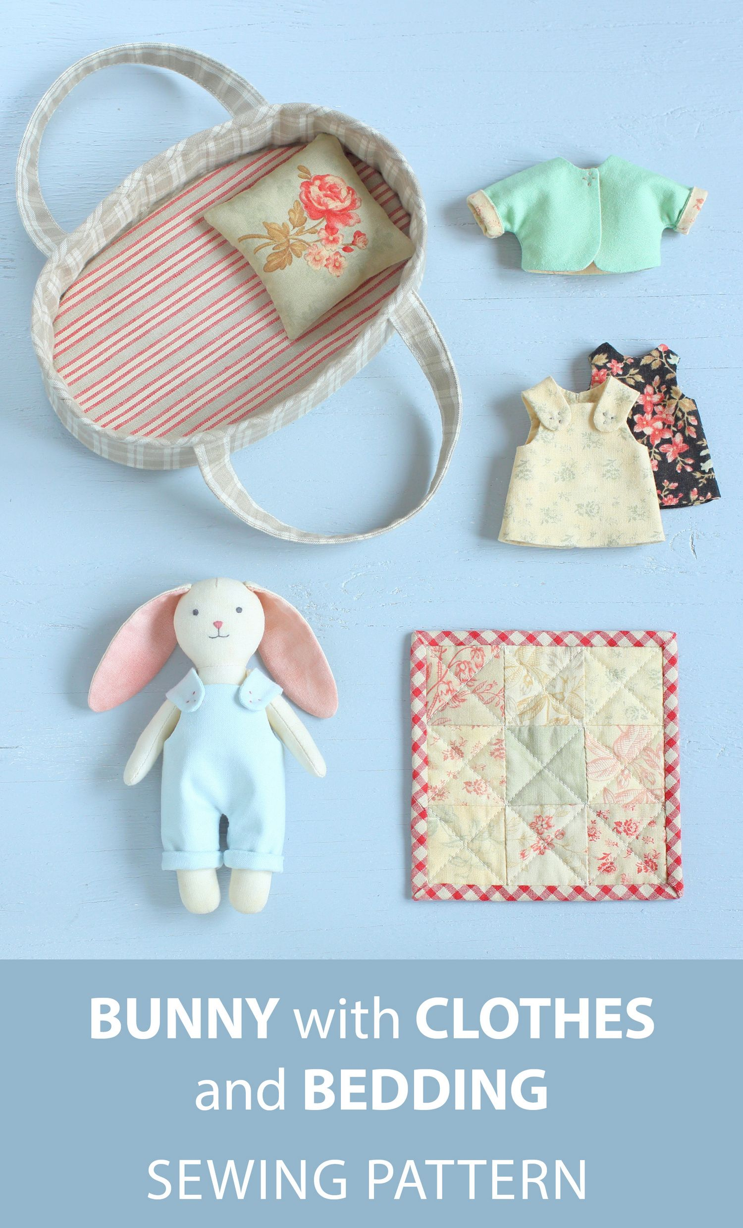 2 PDF: Mini Bunny with Set of Clothes + Basket with Bedding Sewing Pattern — DIY Animal Stuffed Doll, Soft Toy, Dress up Doll, Rabbit Doll #sewingtoys