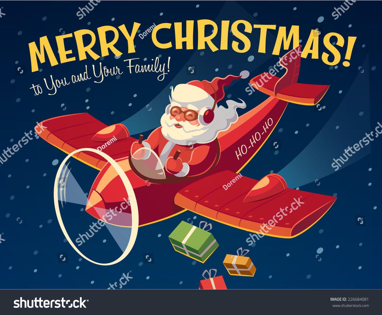 Santa\'s plane. Christmas card \\ poster \\ banner. Vector illustration ...