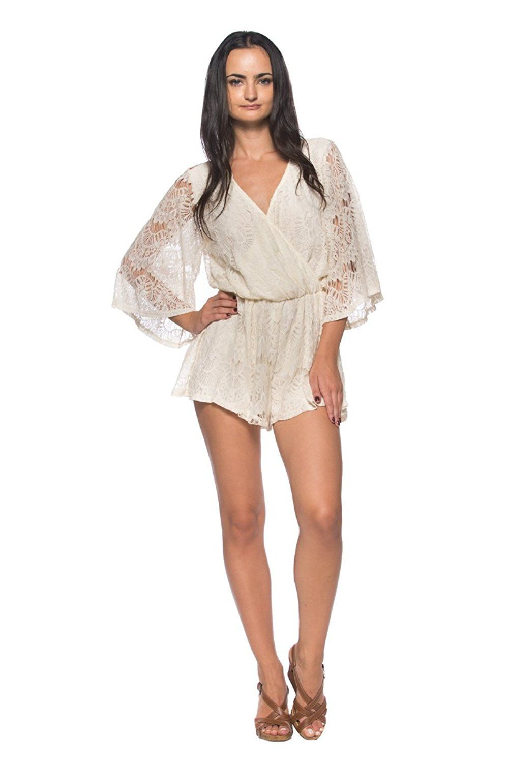 666d2453fe7 Women s Ivory Lace Caftan Sleeve Crossover Wrap Top Playsuit Dress Shorts  Romper -- Want additional info  Click on the image.