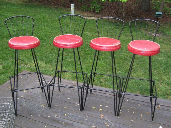 4 mid century modern wrought iron bar stools by frederic weinberg