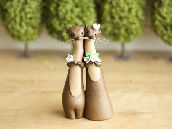 River Otter Wedding Cake Topper River Otter Sculpture