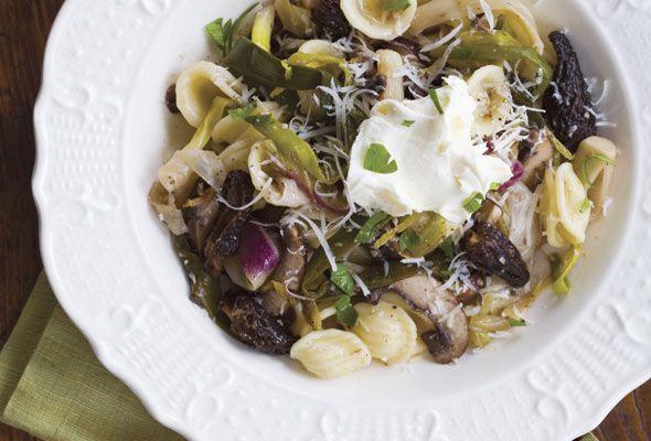 Orecchiette With Mushrooms And Ramps Recipe Recipe Stuffed Mushrooms Recipes Wild Leek Recipe Asparagus mushroom leek spring pasta