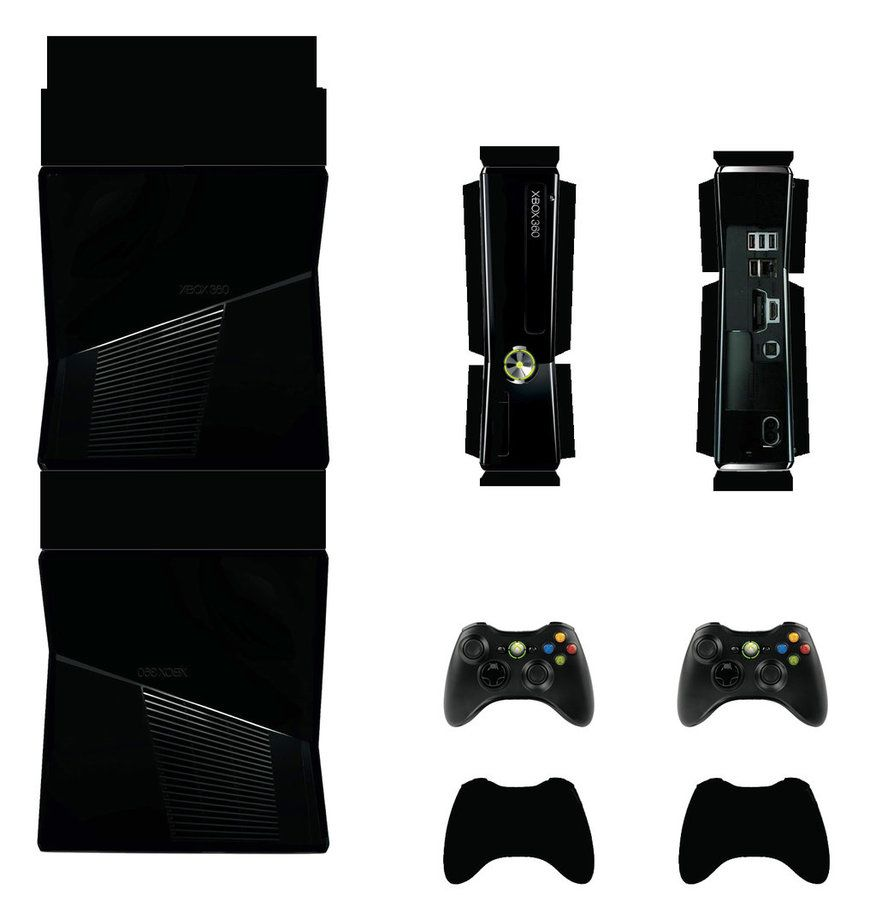 Xbox 360 Slim (Black) Papercraft By Facundoneglia (With