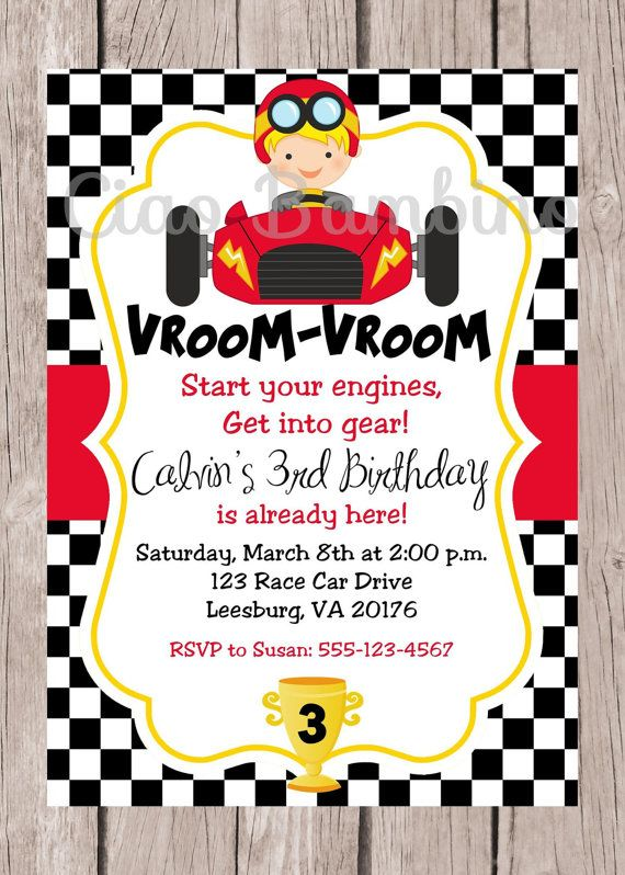 Cars Invitation Card Template Free: PRINTABLE Race Car Birthday Party Invitation