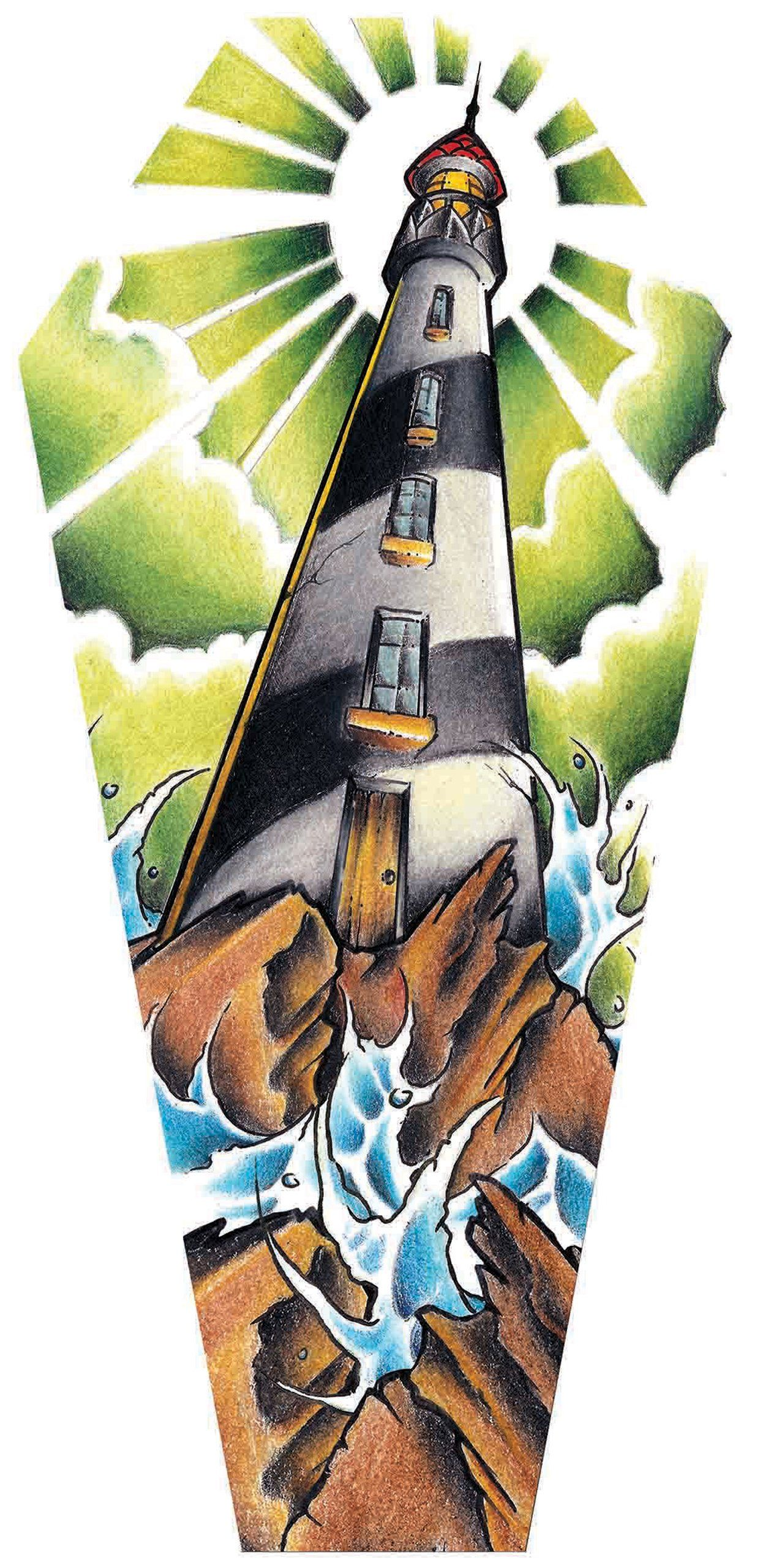 Light house by jay boss old school stormy seas coffin