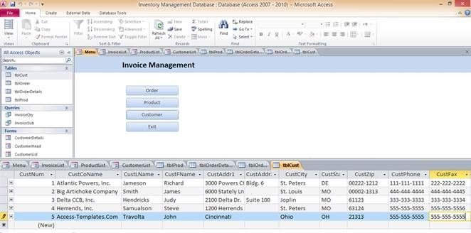 Access Database Inventory Management Templates Projects to Try - invoice spreadsheet