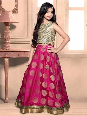 92f1329cf3a6 Pink & Golden Banarasi Brocade Kids Lehenga Choli ,Indian Dresses ...