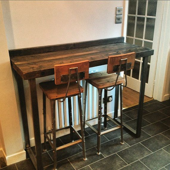 reclaimed industrial 4 seater chic tall poseur table wood metal desk dining table bar cafe. Black Bedroom Furniture Sets. Home Design Ideas