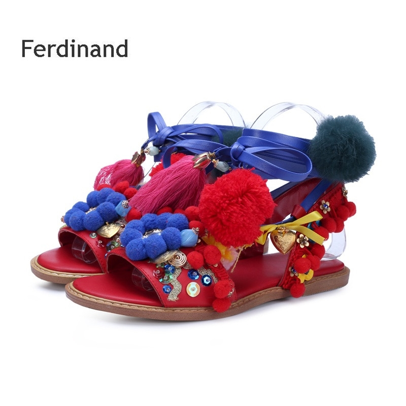 58.64$  Watch now - http://ali8e2.shopchina.info/go.php?t=32805579176 - Women Genuine leather sandals Mixed color Red Peep toe Flats shoes Gladiator Women party shoes Summer Cross-tied Buckle 58.64$ #aliexpress
