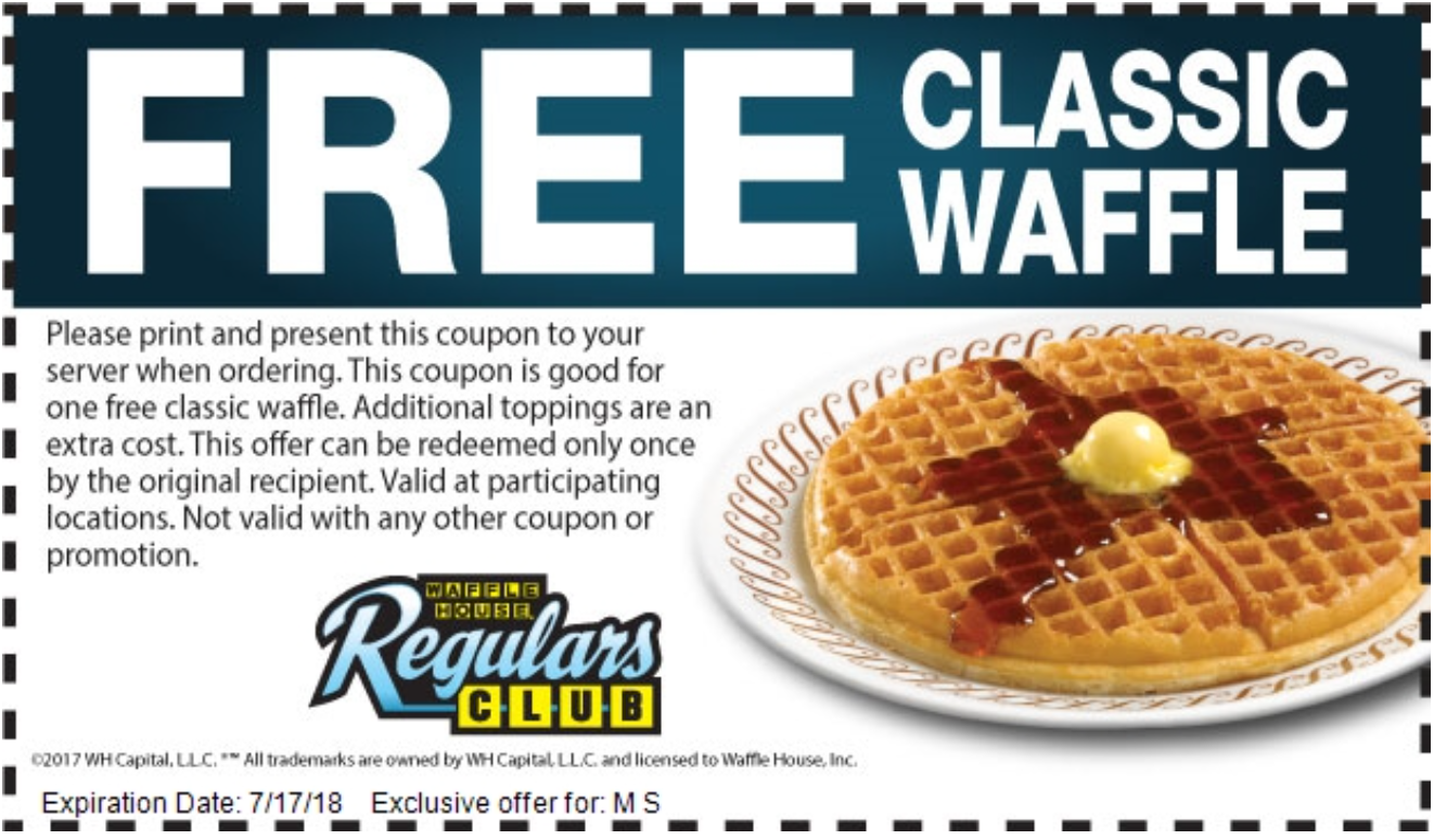 Wafflehouse New Freewaffle Coupon Present This Coupon For One Free Waffle Expires Tuesday 17 July 2018 Https Locations Waffle Waffles Waffle House Food