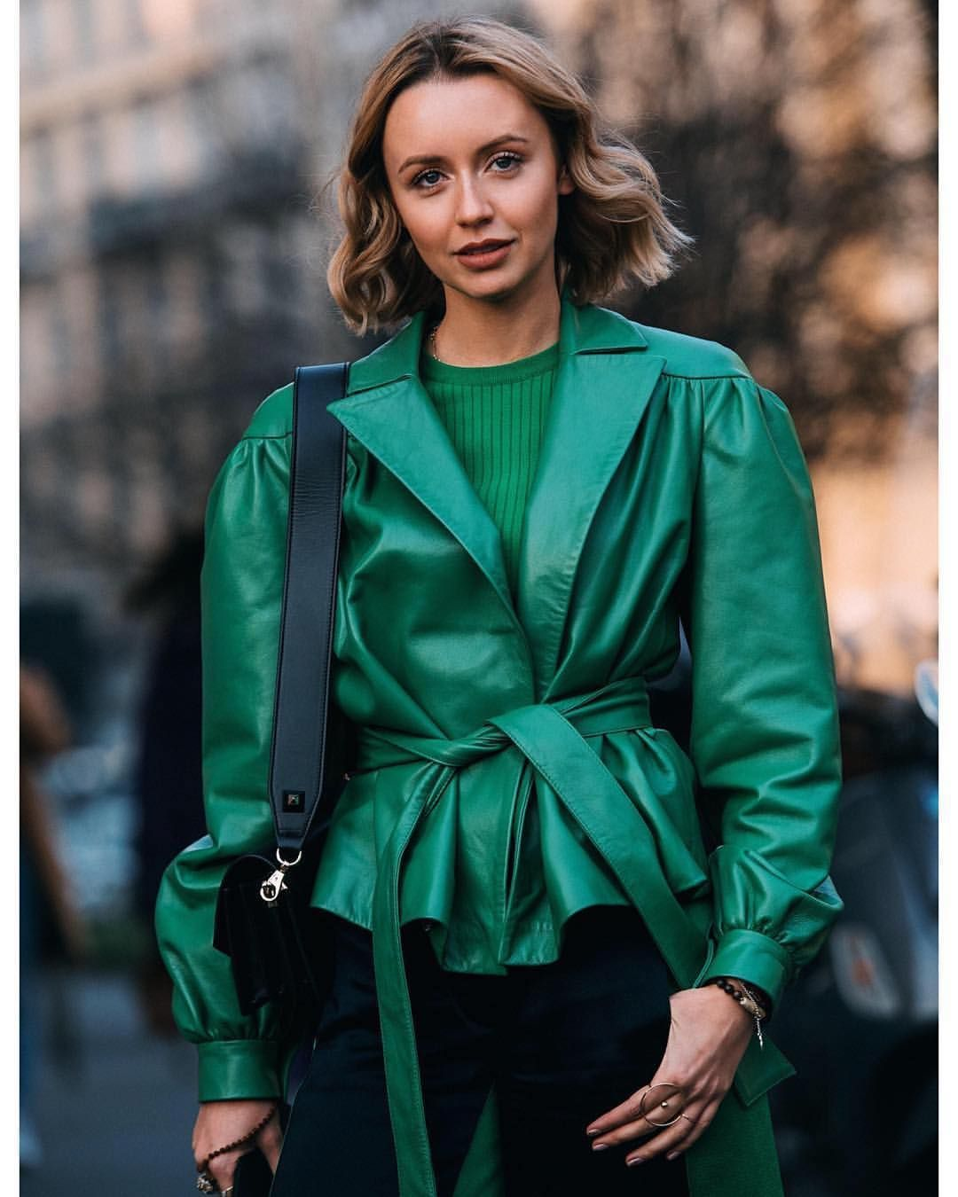 Best 💚 natalyosmann wearing green leather jacket Nebo on