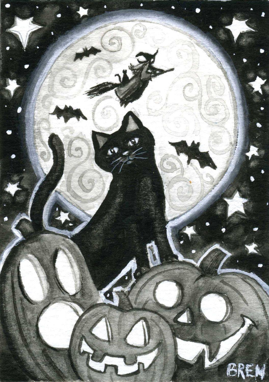 Halloween Night 5x7 Print By Brenna White Black Cat Witch