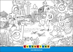 Letterland Colouring Page 1