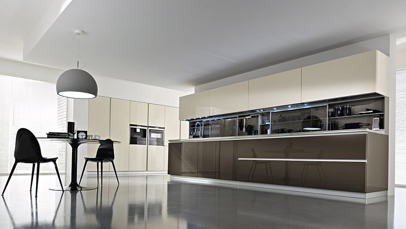pedini usa with shelving between the counter and wall